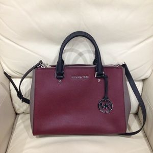 Michael Kors Burgundy Two Tone Satchel Purse Bag